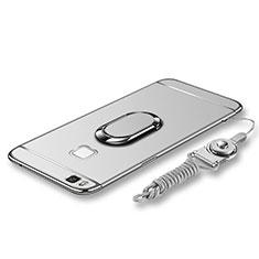 Handyhülle Hülle Luxus Metall Rahmen und Kunststoff Schutzhülle Tasche mit Fingerring Ständer und Lanyard für Huawei G9 Lite Silber