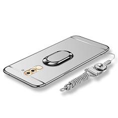 Handyhülle Hülle Luxus Metall Rahmen und Kunststoff Schutzhülle Tasche mit Fingerring Ständer und Lanyard für Huawei Honor 6X Silber