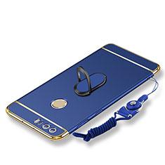 Handyhülle Hülle Luxus Metall Rahmen und Kunststoff Schutzhülle Tasche mit Fingerring Ständer und Lanyard für Huawei Honor 8 Blau