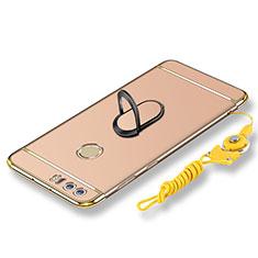 Handyhülle Hülle Luxus Metall Rahmen und Kunststoff Schutzhülle Tasche mit Fingerring Ständer und Lanyard für Huawei Honor 8 Gold