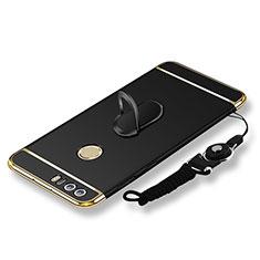 Handyhülle Hülle Luxus Metall Rahmen und Kunststoff Schutzhülle Tasche mit Fingerring Ständer und Lanyard für Huawei Honor 8 Schwarz