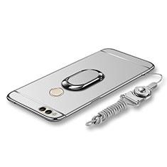 Handyhülle Hülle Luxus Metall Rahmen und Kunststoff Schutzhülle Tasche mit Fingerring Ständer und Lanyard für Huawei Honor Play 7X Silber