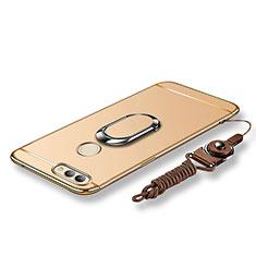 Handyhülle Hülle Luxus Metall Rahmen und Kunststoff Schutzhülle Tasche mit Fingerring Ständer und Lanyard für Huawei Nova 2 Gold