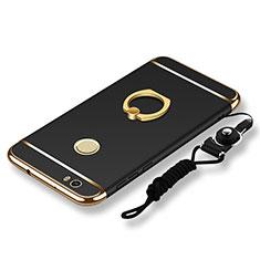 Handyhülle Hülle Luxus Metall Rahmen und Kunststoff Schutzhülle Tasche mit Fingerring Ständer und Lanyard für Huawei Nova Schwarz