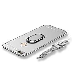 Handyhülle Hülle Luxus Metall Rahmen und Kunststoff Schutzhülle Tasche mit Fingerring Ständer und Lanyard für Huawei P Smart Silber