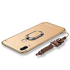 Handyhülle Hülle Luxus Metall Rahmen und Kunststoff Schutzhülle Tasche mit Fingerring Ständer und Lanyard für Huawei P20 Lite Gold