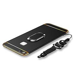 Handyhülle Hülle Luxus Metall Rahmen und Kunststoff Schutzhülle Tasche mit Fingerring Ständer und Lanyard für Huawei P9 Lite Schwarz