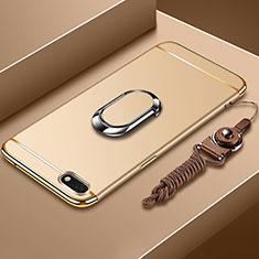 Handyhülle Hülle Luxus Metall Rahmen und Kunststoff Schutzhülle Tasche mit Fingerring Ständer und Lanyard für Huawei Y5 (2018) Gold