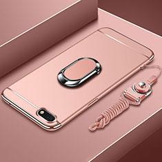 Handyhülle Hülle Luxus Metall Rahmen und Kunststoff Schutzhülle Tasche mit Fingerring Ständer und Lanyard für Huawei Y5 (2018) Rosegold