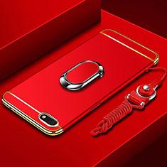 Handyhülle Hülle Luxus Metall Rahmen und Kunststoff Schutzhülle Tasche mit Fingerring Ständer und Lanyard für Huawei Y5 (2018) Rot