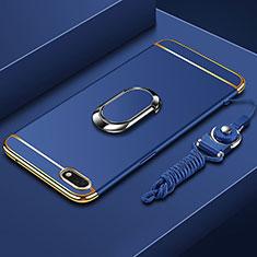 Handyhülle Hülle Luxus Metall Rahmen und Kunststoff Schutzhülle Tasche mit Fingerring Ständer und Lanyard für Huawei Y5 Prime (2018) Blau