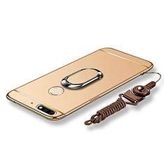 Handyhülle Hülle Luxus Metall Rahmen und Kunststoff Schutzhülle Tasche mit Fingerring Ständer und Lanyard für Huawei Y7 (2018) Gold