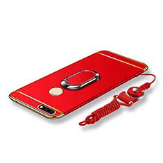 Handyhülle Hülle Luxus Metall Rahmen und Kunststoff Schutzhülle Tasche mit Fingerring Ständer und Lanyard für Huawei Y7 (2018) Rot