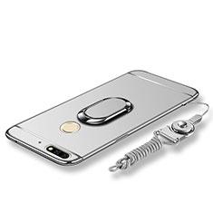 Handyhülle Hülle Luxus Metall Rahmen und Kunststoff Schutzhülle Tasche mit Fingerring Ständer und Lanyard für Huawei Y7 (2018) Silber
