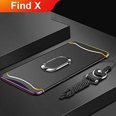 Handyhülle Hülle Luxus Metall Rahmen und Kunststoff Schutzhülle Tasche mit Fingerring Ständer und Lanyard für Oppo Find X Schwarz