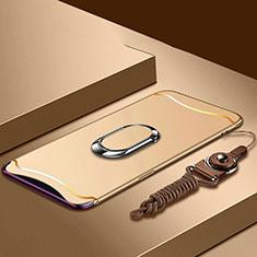 Handyhülle Hülle Luxus Metall Rahmen und Kunststoff Schutzhülle Tasche mit Fingerring Ständer und Lanyard für Oppo Find X Super Flash Edition Gold
