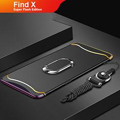 Handyhülle Hülle Luxus Metall Rahmen und Kunststoff Schutzhülle Tasche mit Fingerring Ständer und Lanyard für Oppo Find X Super Flash Edition Schwarz
