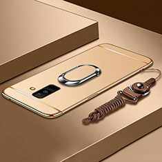 Handyhülle Hülle Luxus Metall Rahmen und Kunststoff Schutzhülle Tasche mit Fingerring Ständer und Lanyard für Samsung Galaxy A6 Plus (2018) Gold