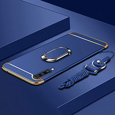 Handyhülle Hülle Luxus Metall Rahmen und Kunststoff Schutzhülle Tasche mit Fingerring Ständer und Lanyard für Samsung Galaxy A70 Blau