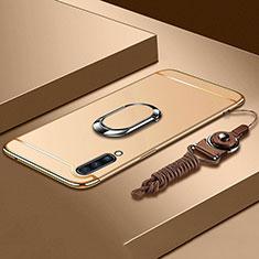 Handyhülle Hülle Luxus Metall Rahmen und Kunststoff Schutzhülle Tasche mit Fingerring Ständer und Lanyard für Samsung Galaxy A70 Gold