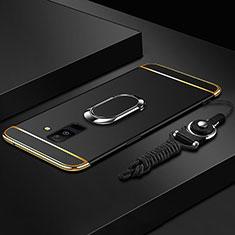 Handyhülle Hülle Luxus Metall Rahmen und Kunststoff Schutzhülle Tasche mit Fingerring Ständer und Lanyard für Samsung Galaxy A9 Star Lite Schwarz