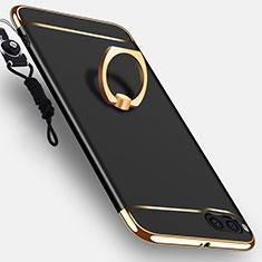 Handyhülle Hülle Luxus Metall Rahmen und Kunststoff Schutzhülle Tasche mit Fingerring Ständer und Lanyard für Xiaomi Mi Note 3 Schwarz