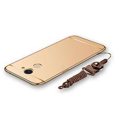 Handyhülle Hülle Luxus Metall Rahmen und Kunststoff Schutzhülle Tasche mit Lanyard für Huawei Enjoy 7 Plus Gold