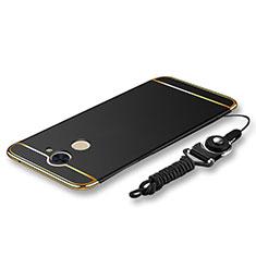 Handyhülle Hülle Luxus Metall Rahmen und Kunststoff Schutzhülle Tasche mit Lanyard für Huawei Enjoy 7 Plus Schwarz