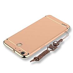 Handyhülle Hülle Luxus Metall Rahmen und Kunststoff Schutzhülle Tasche mit Lanyard für Huawei G8 Mini Gold