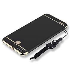 Handyhülle Hülle Luxus Metall Rahmen und Kunststoff Schutzhülle Tasche mit Lanyard für Huawei G8 Mini Schwarz