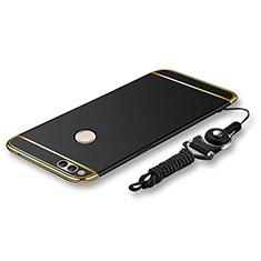 Handyhülle Hülle Luxus Metall Rahmen und Kunststoff Schutzhülle Tasche mit Lanyard für Huawei Honor 7X Schwarz