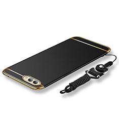 Handyhülle Hülle Luxus Metall Rahmen und Kunststoff Schutzhülle Tasche mit Lanyard für Huawei Honor V10 Schwarz