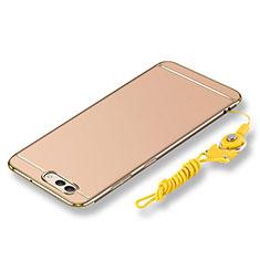 Handyhülle Hülle Luxus Metall Rahmen und Kunststoff Schutzhülle Tasche mit Lanyard für Huawei Nova 2S Gold