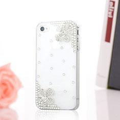 Handyhülle Hülle Luxus Strass Diamant Schutzhülle Blumen für Apple iPhone 4 Weiß