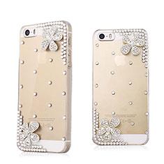 Handyhülle Hülle Luxus Strass Diamant Schutzhülle Blumen für Apple iPhone 5S Weiß