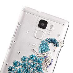 Handyhülle Hülle Luxus Strass Diamant Schutzhülle Pfau für Huawei Honor 7 Dual SIM Hellblau