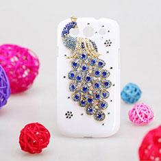 Handyhülle Hülle Luxus Strass Diamant Schutzhülle Pfau für Samsung Galaxy S3 III LTE 4G Blau