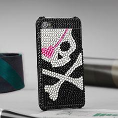 Handyhülle Hülle Luxus Strass Diamant Schutzhülle Schädel für Apple iPhone 4 Schwarz