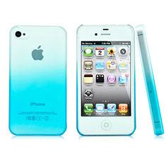 Handyhülle Hülle Schutzhülle Durchsichtig Farbverlauf für Apple iPhone 4 Hellblau