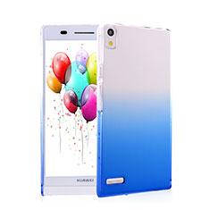 Handyhülle Hülle Schutzhülle Durchsichtig Farbverlauf für Huawei Ascend P6 Blau