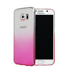 Handyhülle Hülle Schutzhülle Durchsichtig Farbverlauf für Samsung Galaxy S6 SM-G920 Rosa