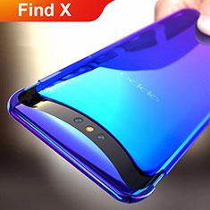 Handyhülle Hülle Schutzhülle Durchsichtig Transparent Farbverlauf für Oppo Find X Blau