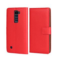 Handyhülle Hülle Stand Tasche Leder für LG K7 Rot