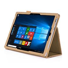 Handyhülle Hülle Stand Tasche Leder für Microsoft Surface Pro 4 Gold