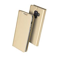 Handyhülle Hülle Stand Tasche Leder für Samsung Galaxy A6 (2018) Gold