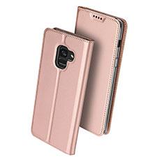 Handyhülle Hülle Stand Tasche Leder für Samsung Galaxy A8 (2018) A530F Rosegold