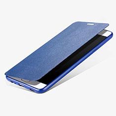 Handyhülle Hülle Stand Tasche Leder für Samsung Galaxy C7 Pro C7010 Blau