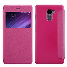 Handyhülle Hülle Stand Tasche Leder für Xiaomi Redmi 4 Standard Edition Pink
