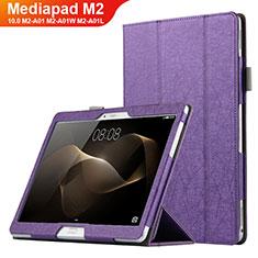 Handyhülle Hülle Stand Tasche Leder L01 für Huawei MediaPad M2 10.0 M2-A01 M2-A01W M2-A01L Violett