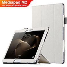 Handyhülle Hülle Stand Tasche Leder L01 für Huawei MediaPad M2 10.0 M2-A01 M2-A01W M2-A01L Weiß